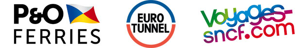 P&O ferries, Euro Tunnel & Voyages SNCF logos